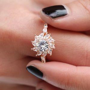 Rose Gold Sunflower Ring